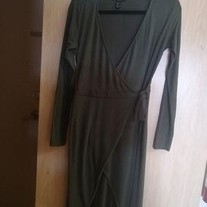 Army green wrap around dress